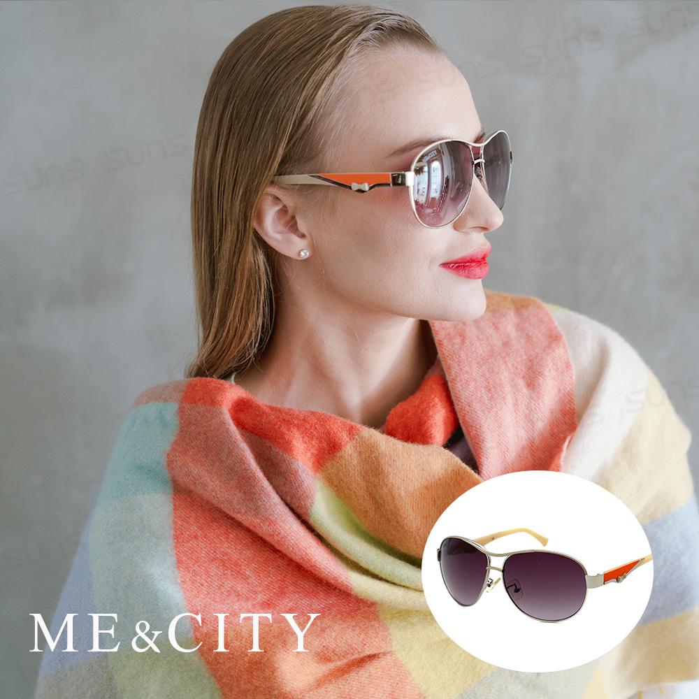 ME&CITY 義式典藏高貴太陽眼鏡 斜邊雙色點綴設計 抗UV400 (ME 120033 I620)