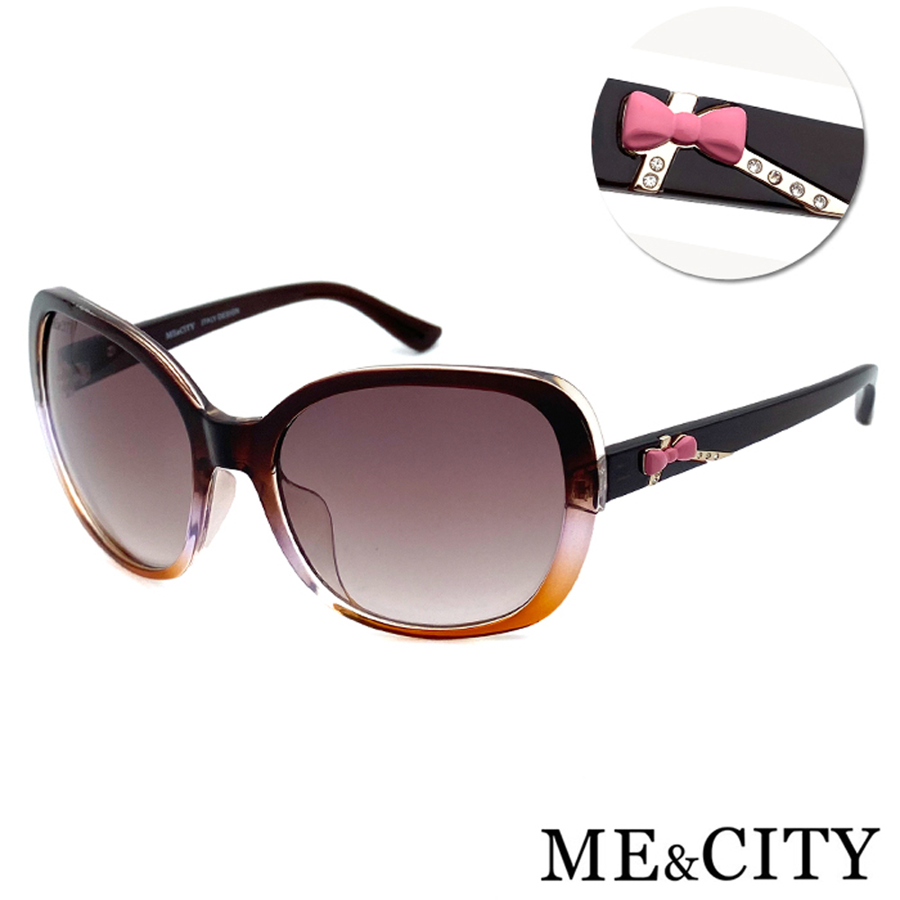 ME&CITY 甜美蝴蝶結雙色鑽太陽眼鏡 抗UV400 (ME 120028 J121)