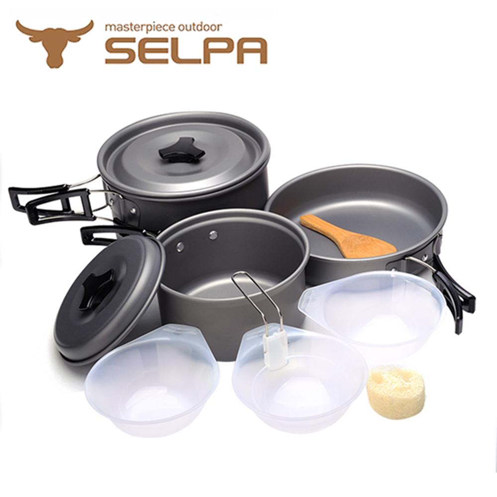 【韓國SELPA】戶外不沾鍋設計鋁合金鍋具七件組/旅行/露營