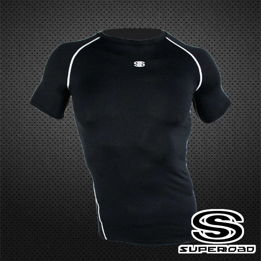【SUPEROAD SPORTS】涼感速乾 專業機能運動短袖緊身衣(黑色)