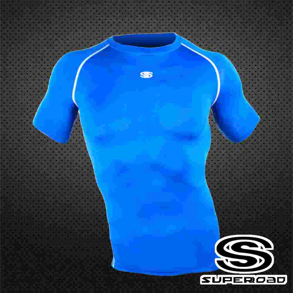 【SUPEROAD SPORTS】涼感速乾 專業機能運動短袖緊身衣(寶藍色)