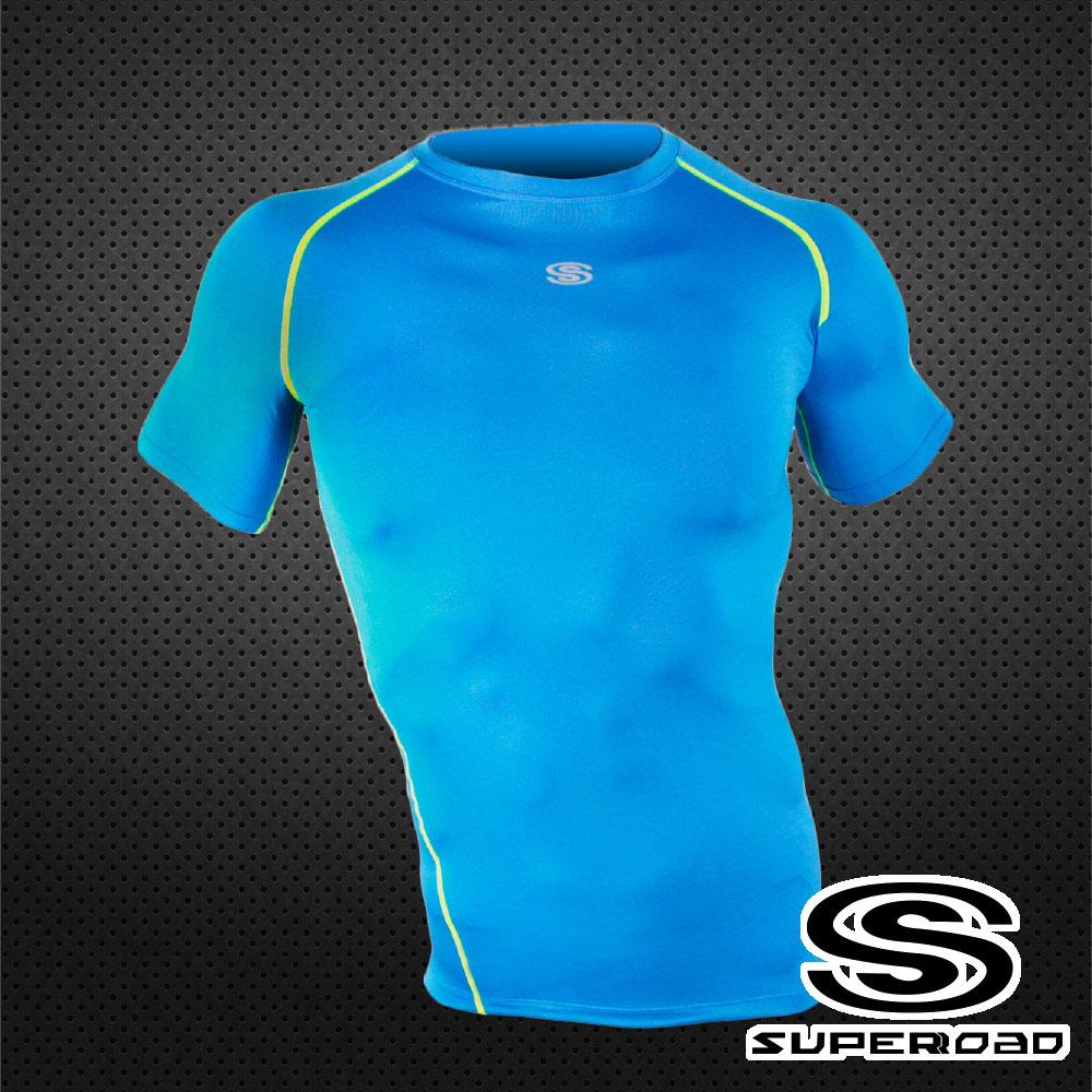 【SUPEROAD SPORTS】涼感速乾 專業機能運動短袖緊身衣(淺藍色)