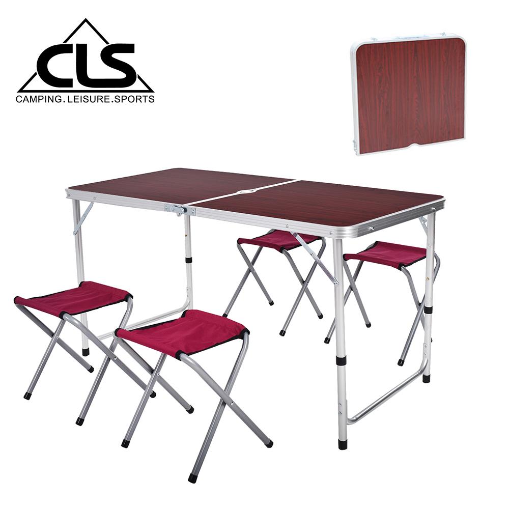 【韓國CLS】可調桌腳鋁合金折疊一桌四椅組/折疊箱型桌/折合桌/露營桌/鋁合金桌(兩色任選)