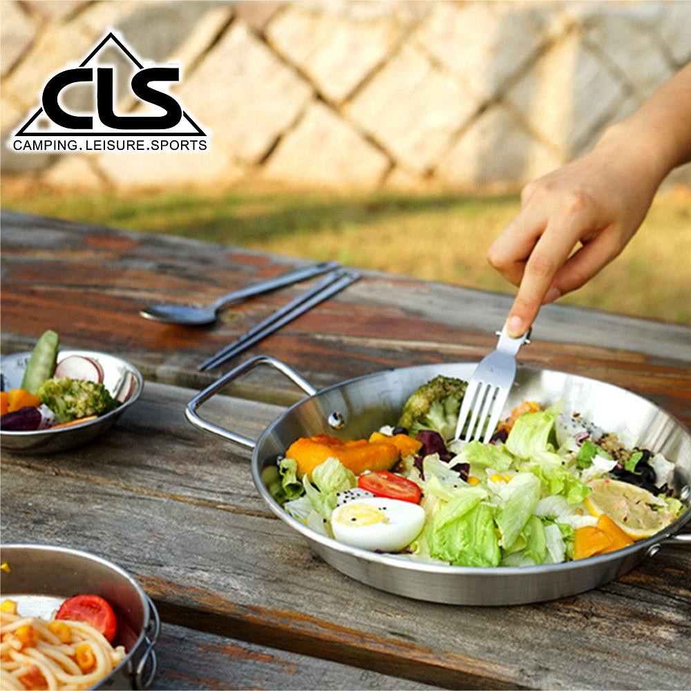 【韓國CLS】戶外野營不鏽鋼雙耳平底鍋 25cm/海鮮燉飯鍋/露營/野餐