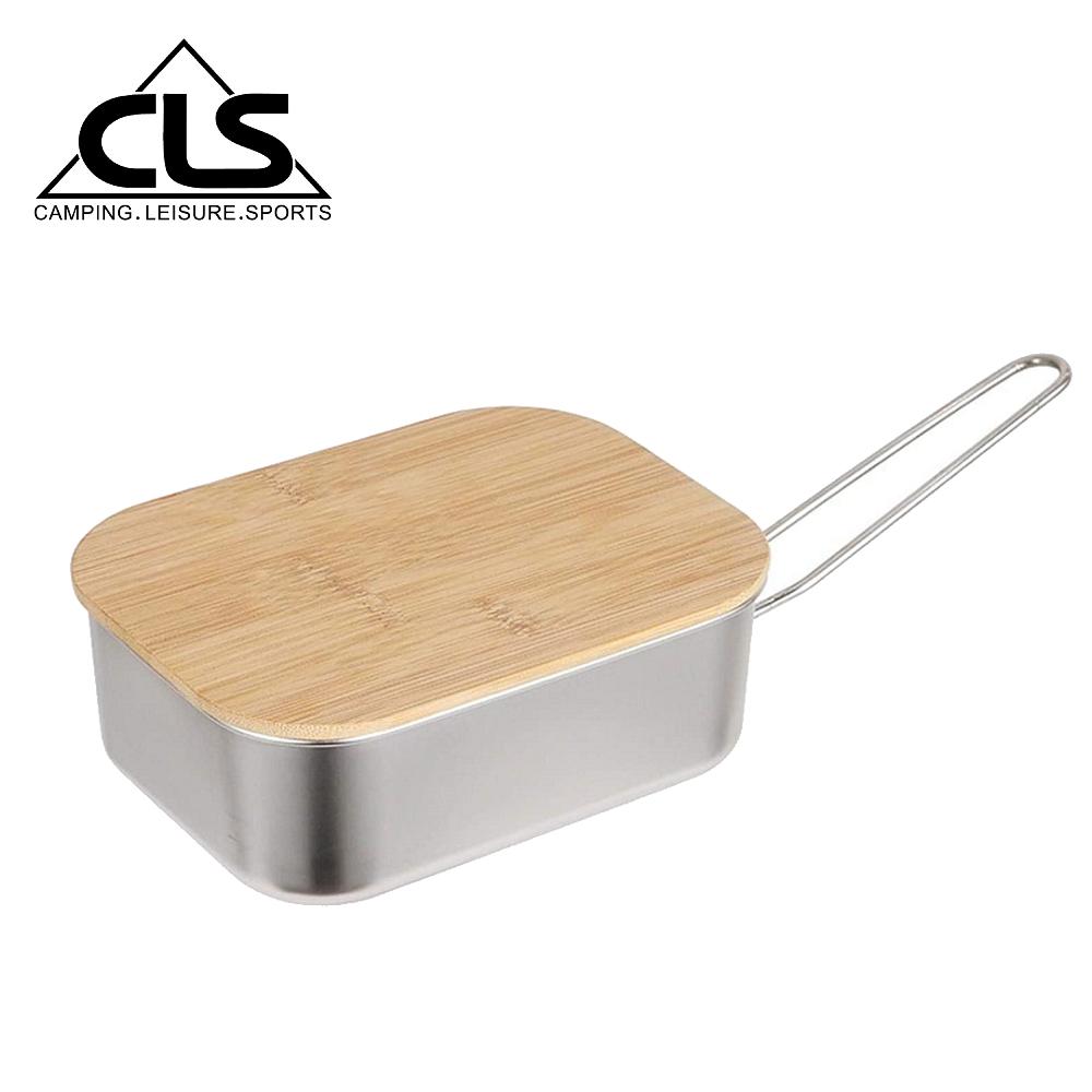 【韓國CLS】304不鏽鋼煮飯盒附收納袋/竹木蓋板/便當盒/煮飯鍋/野炊