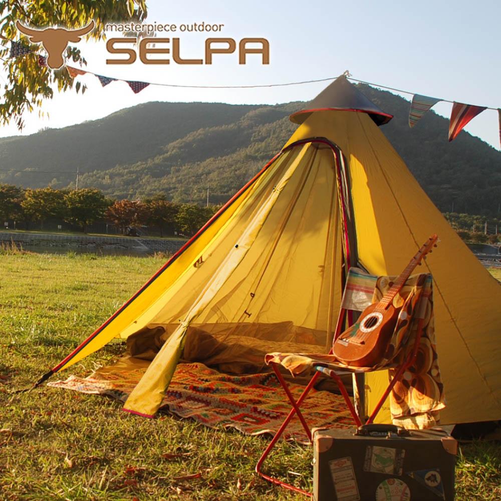【韓國SELPA】升級款一房一廳 印地安帳(黃色) 露營 帳篷 家庭帳 五人 大型