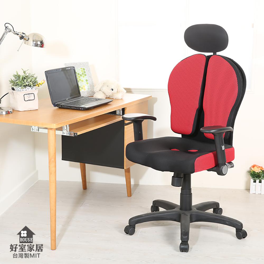 【好室家居】雙背人體工學電競椅電腦椅辦公椅(兩色可選)XL-C001