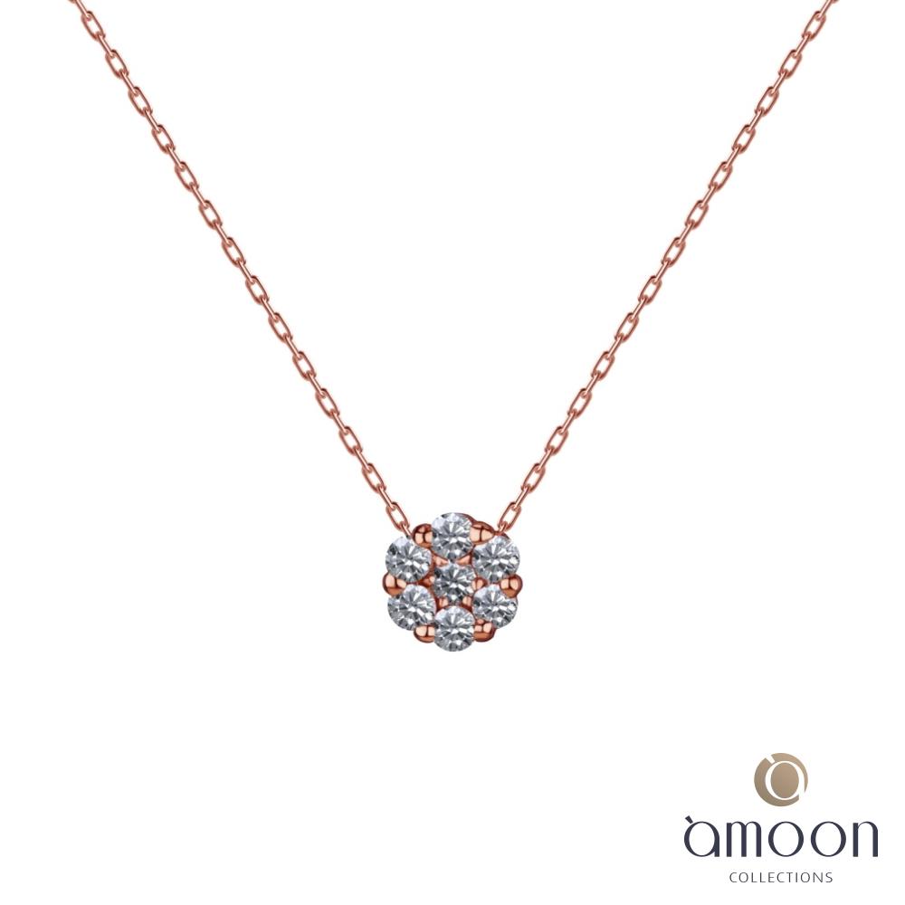 amoon 戀戀東京系列 春舞 18K金鑽石項鍊-玫瑰金