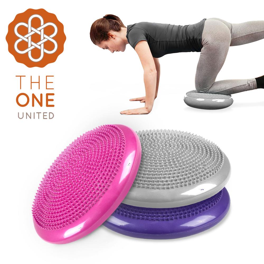 【The One】按摩顆粒瑜珈平衡盤/平衡氣墊(附打氣筒)(三色任選)