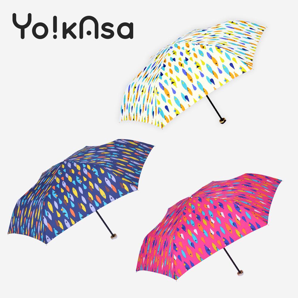 【Yo!kAsa】繽紛色彩 可愛魚點 晴雨手開傘(三色任選)