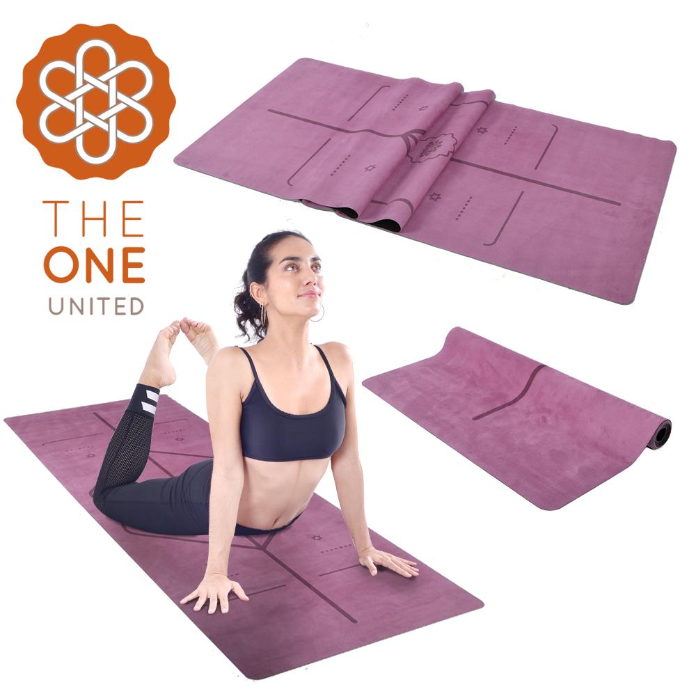 【The One】專業防滑天然橡膠正位線麂皮絨加寬瑜珈墊 瑜珈毯鋪巾 1mm(兩色任選)