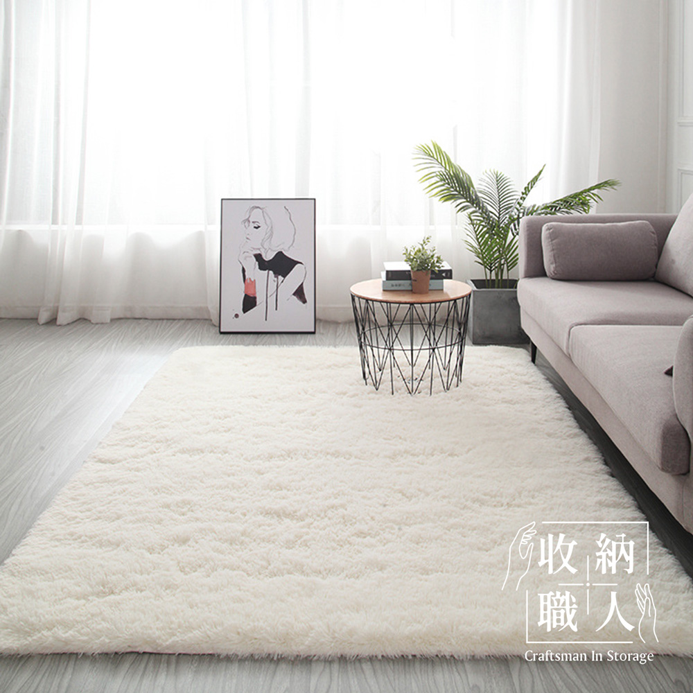 【收納職人】現代簡約輕奢北歐風加厚羊羔絨地毯/床邊毯/茶几毯_白色
