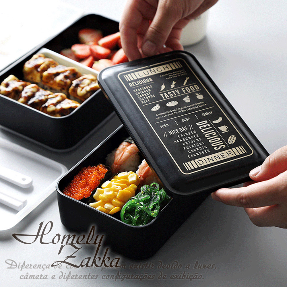【Homely Zakka】原創北歐風黑色雙層便當盒/分格飯盒/可微波飯盒_黑色菜單