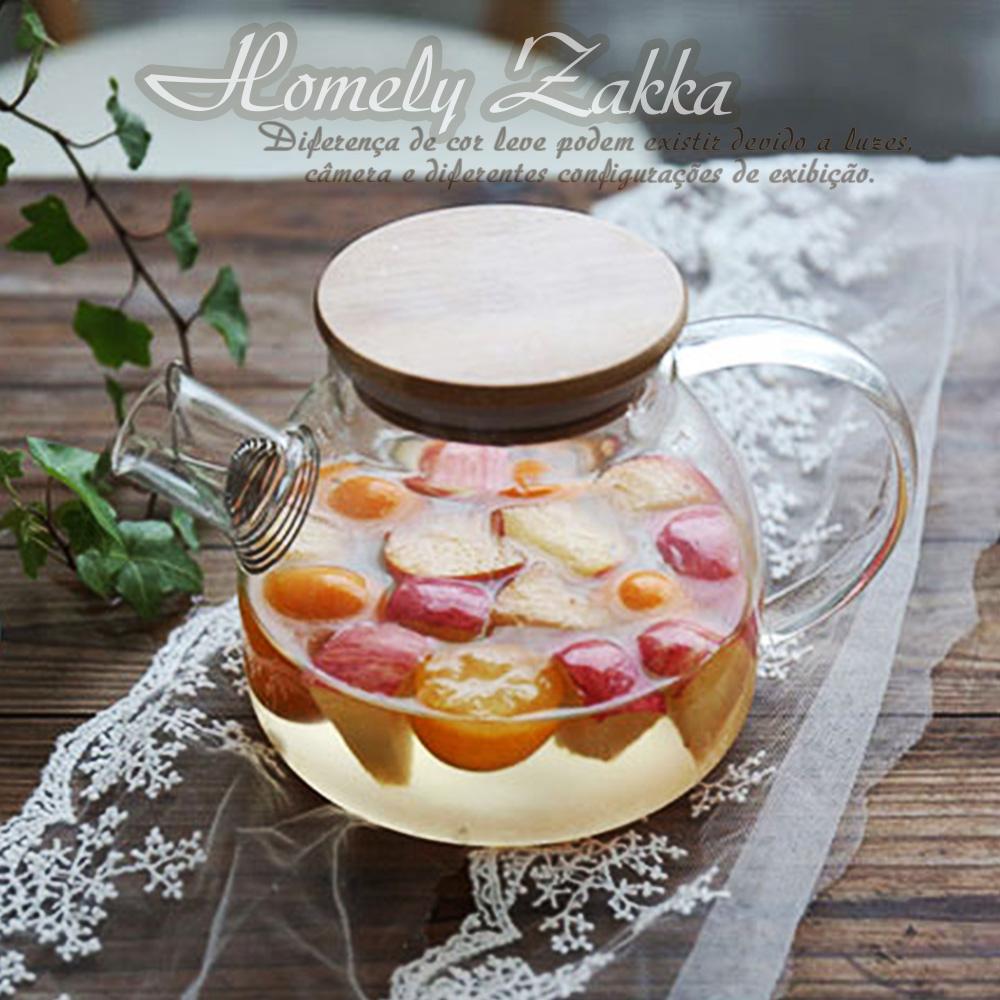 【Homely Zakka】午茶食光茶濾短嘴竹蓋玻璃壺/花果茶壼 (1000ml)