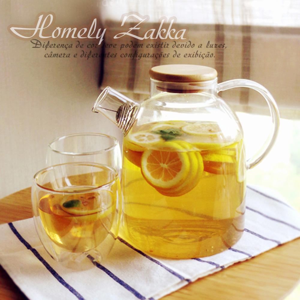 【Homely Zakka】午茶食光茶濾短嘴竹蓋玻璃壺/花果茶壼 (1800ml)