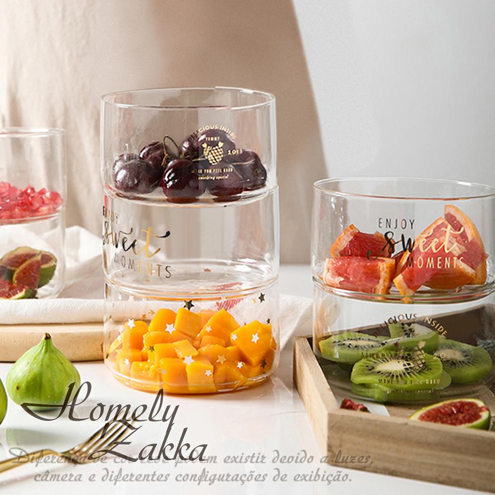 【Homely Zakka】創意ins風金色可堆疊玻璃碗/玻璃儲物罐/沙拉碗(款式隨機)