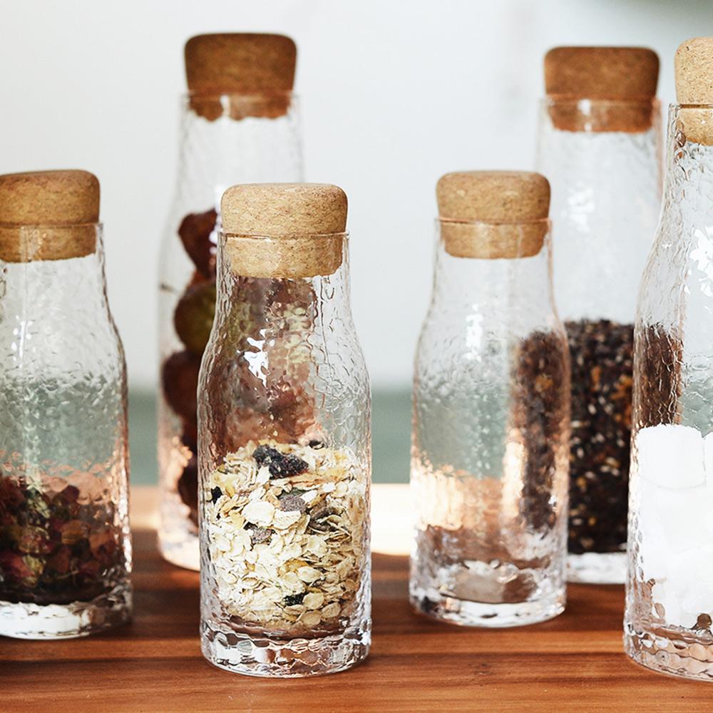 【Homely Zakka】軟木塞蓋錘紋玻璃瓶儲物瓶 (500ml)