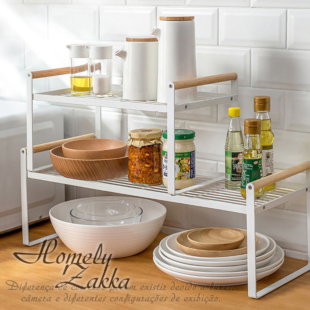 【Homely Zakka】日式簡約木質藝鐵多功能分層置物架/湯鍋隔層收納架/整理架(大)