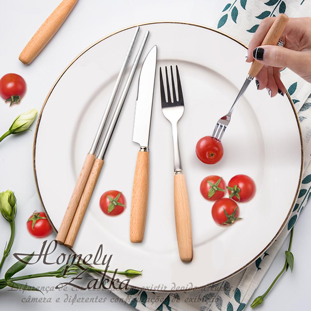 【Homely Zakka】日式櫸木不銹鋼餐具套裝(5件組)