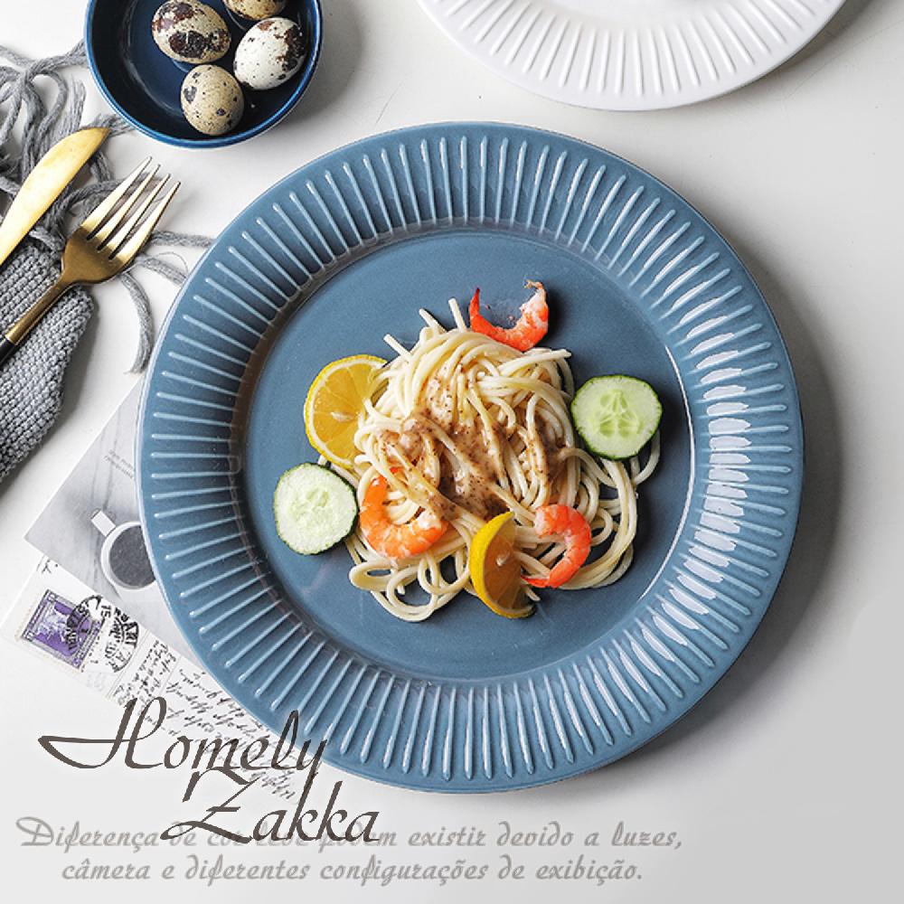 【Homely Zakka】北歐創意輕奢風立體豎條紋陶瓷餐具_圓形湯盤(灰藍色)