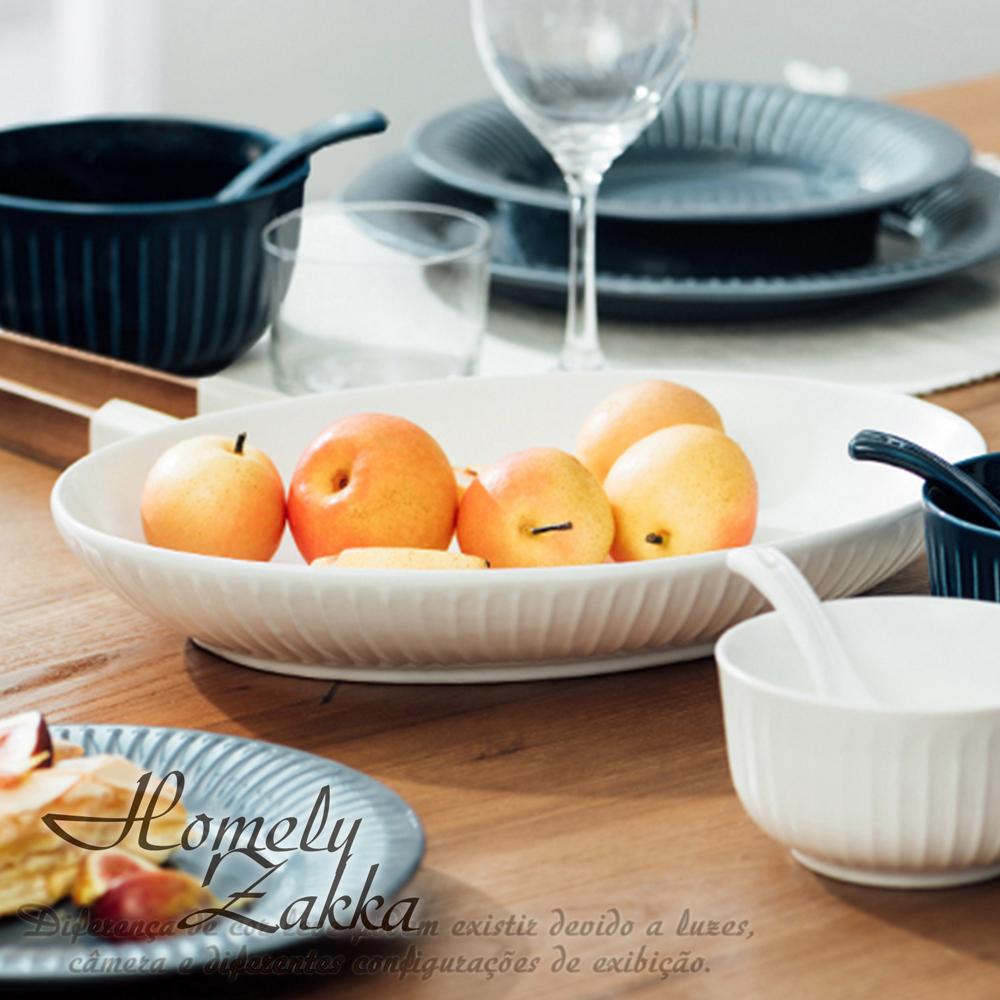 【Homely Zakka】北歐創意輕奢風立體豎條紋陶瓷餐具_橢圓魚盤(珍珠白)