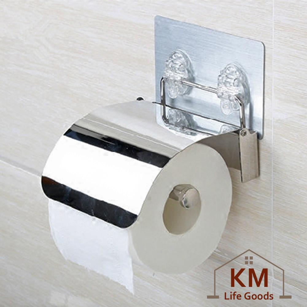 【KM生活】日式簡約無痕不鏽鋼魔力貼創意紙巾架