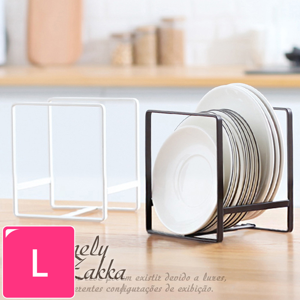 【Homely Zakka】日式簡約工藝鐵製盤架/整理置物架/瀝水收納層架_大(黑色)