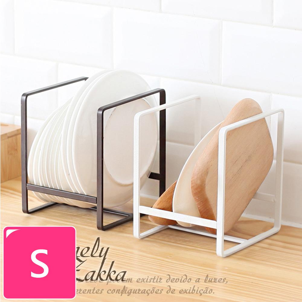 【Homely Zakka】日式簡約工藝鐵製盤架/整理置物架/瀝水收納層架_小(白色)