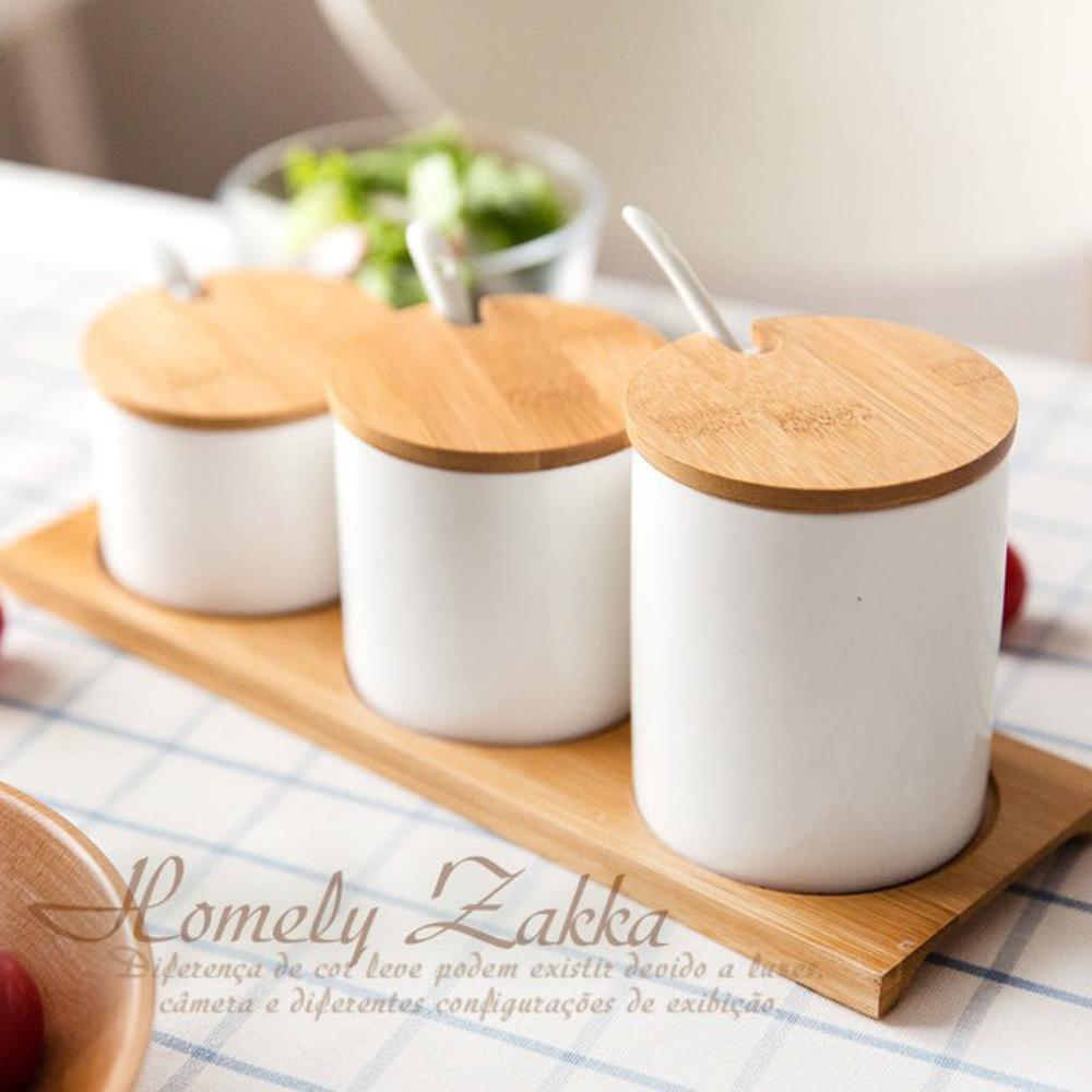 【Homely Zakka】美味食光淨白瓷竹蓋調味料三罐組(階梯三尺寸款)