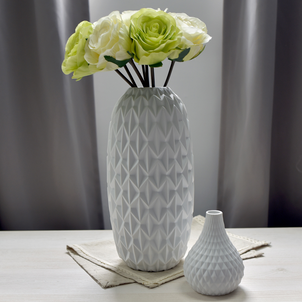 【Meric Garden】北歐現代簡約創意陶瓷花瓶(清雅白L)