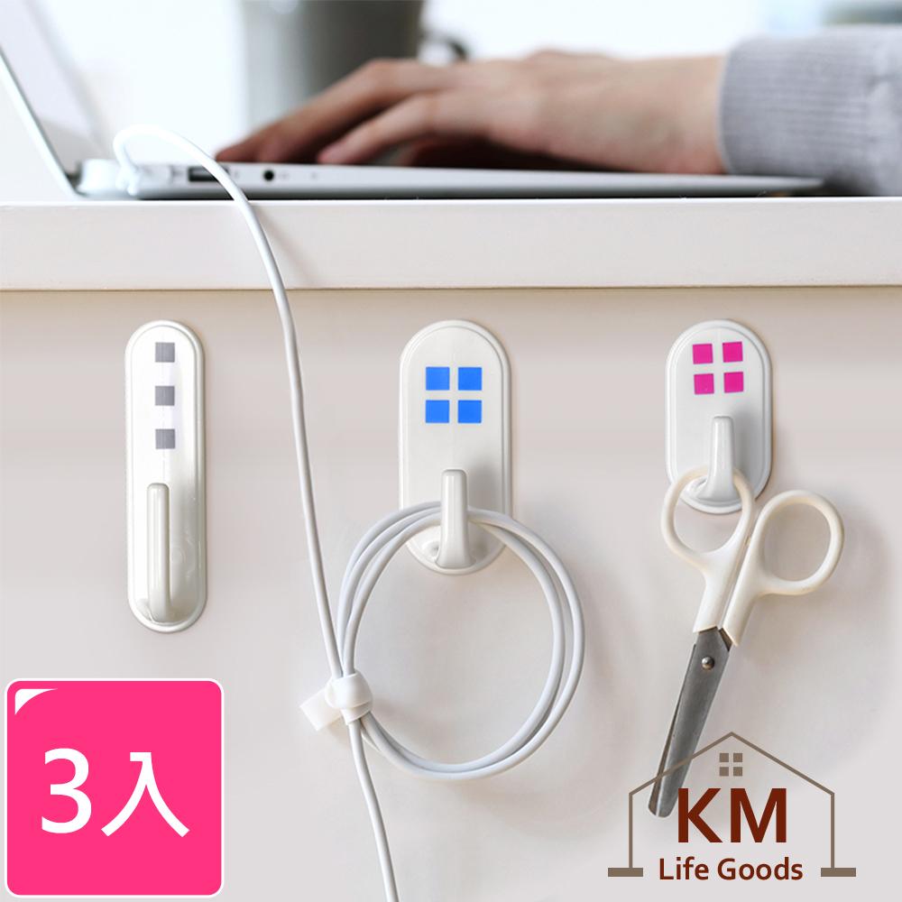 【KM生活】日式簡約 3M強力膠條掛勾3入/組