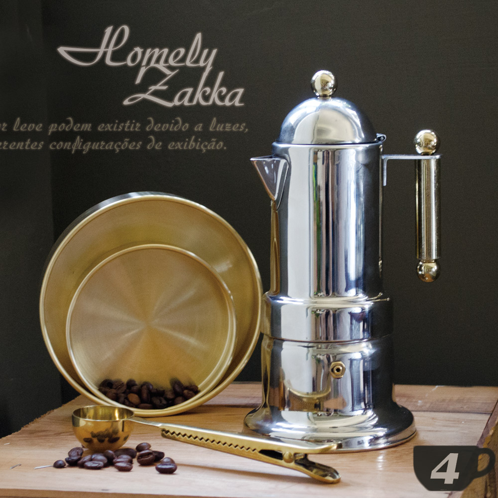 【Homely Zakka】新古典裝飾鍍金304不鏽鋼咖啡壼/摩卡壼 (4杯)