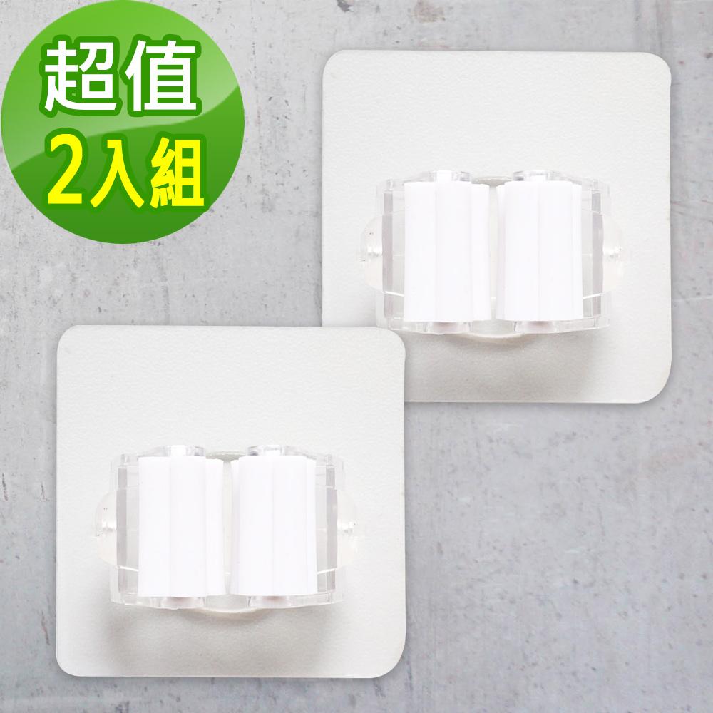 【KM生活】免打孔萬用隱形拖把置物無痕掛鉤(2入)