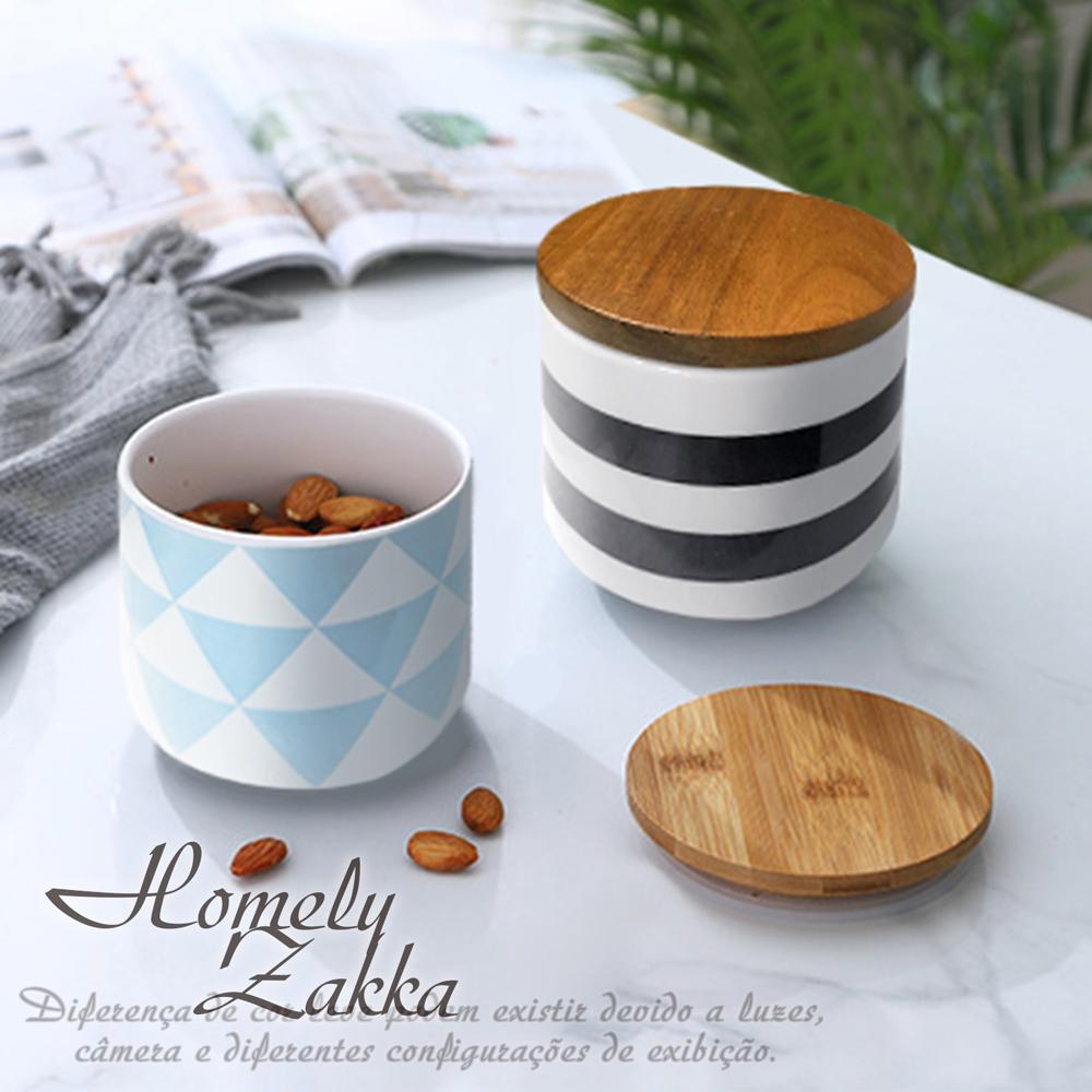 【Homely Zakka】北歐簡約幾何帶蓋陶瓷密封罐/儲物罐/收納罐(2款任選)