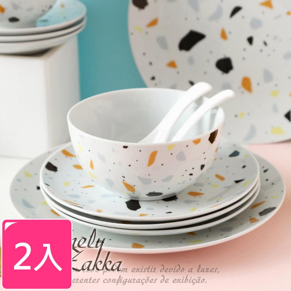【Homely Zakka】北歐ins小清新水磨石紋陶瓷餐具_圓形飯碗x2件組