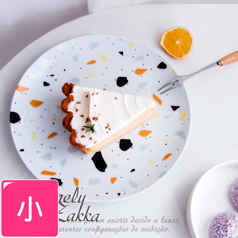 【Homely Zakka】北歐ins小清新水磨石紋陶瓷餐具_小圓平盤