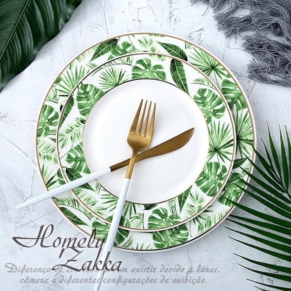 【Homely Zakka】北歐創意輕奢風熱帶植物金邊陶瓷餐具_中圓平盤