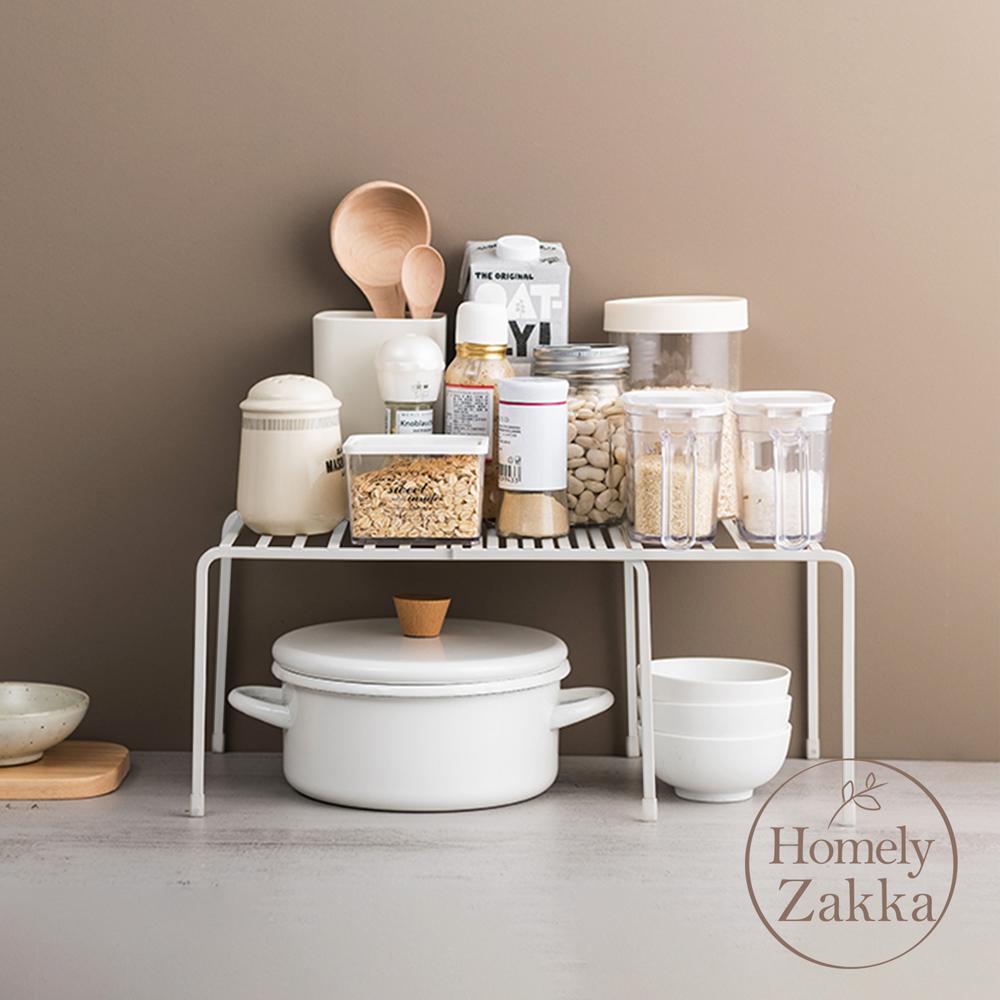 【Homely Zakka】日式簡約工藝鐵製多功能可伸縮層架/收納置物架/整理架