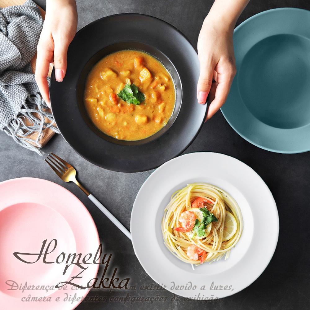 【Homely Zakka】北歐創意啞光色釉陶瓷深湯盤/義大利麵盤/西餐盤_4色任選
