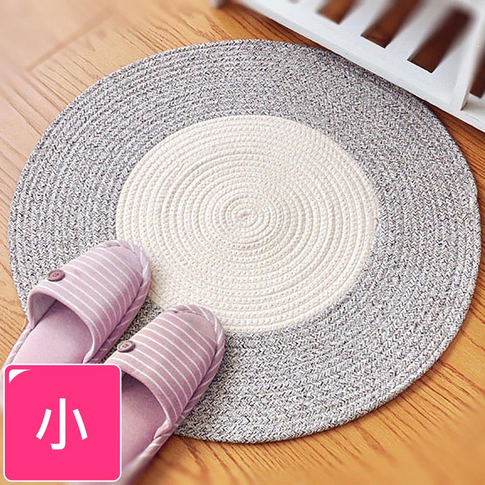 【收納職人】日系慢活厚棉線編織小地毯-淺棕+白色拼接
