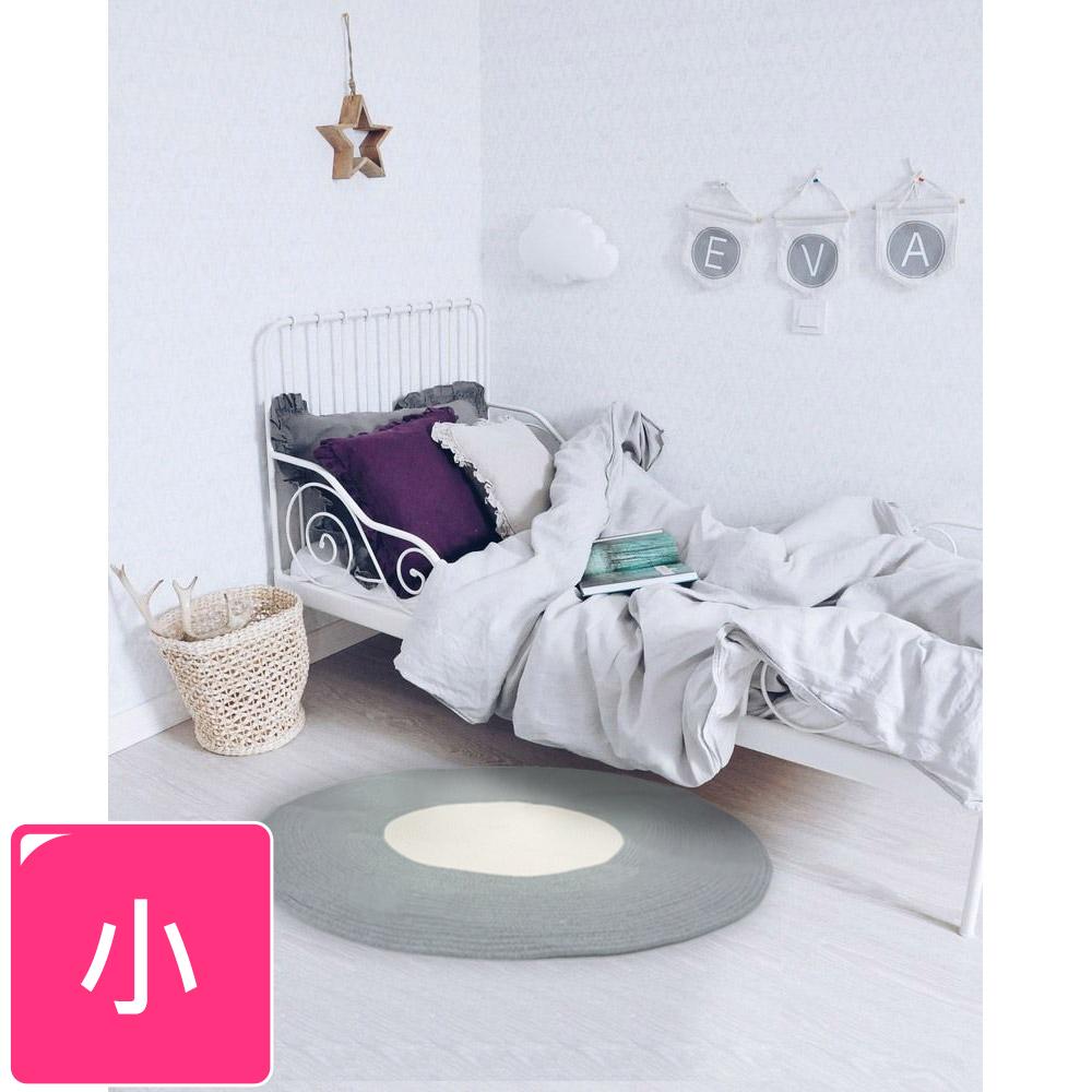 【收納職人】日系慢活厚棉線編織小地毯-藍色+白色拼接