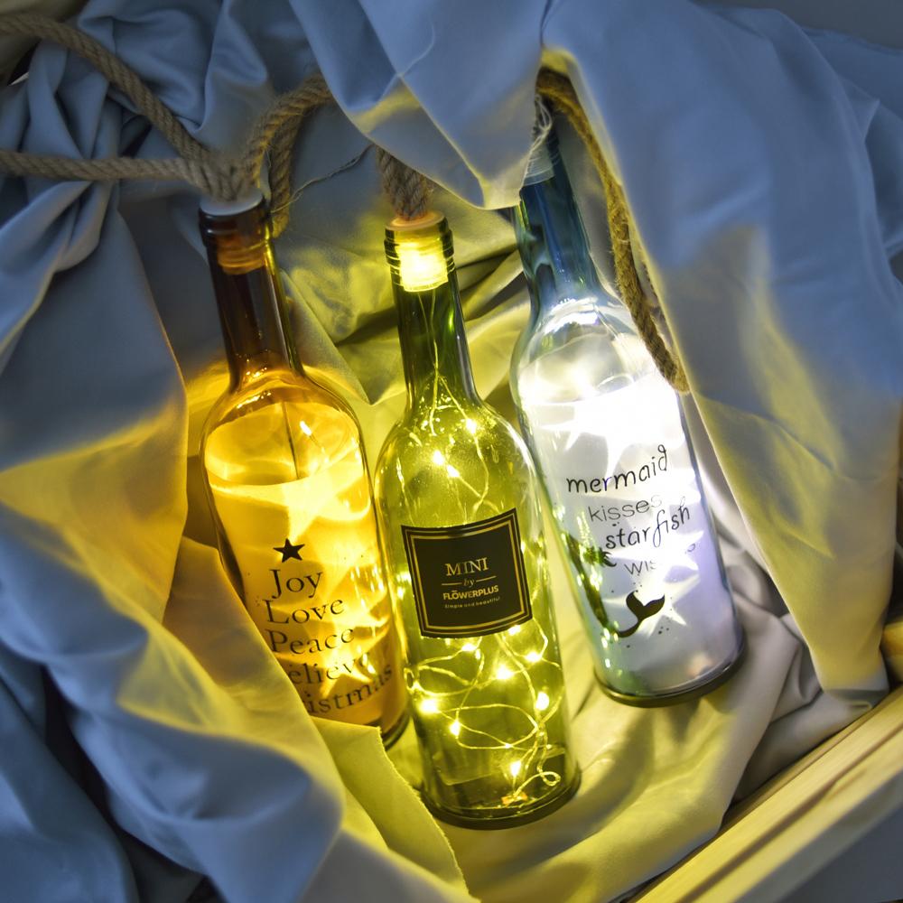【Meric Garden】創意北歐ins風裝飾玻璃瓶LED小夜燈/小彩燈/電池燈飾_3色任選(款式隨機)
