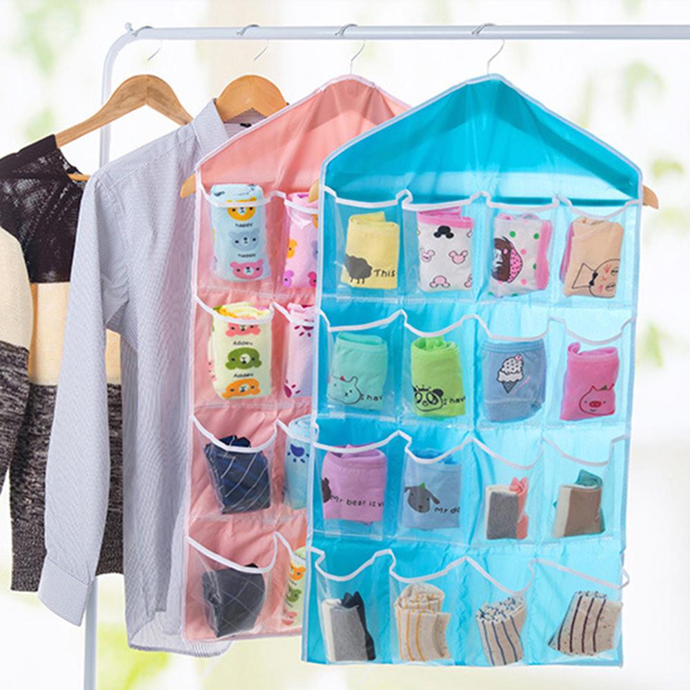 【收納職人】16格透明衣櫃收納掛袋/門後儲物掛袋(顏色隨機)