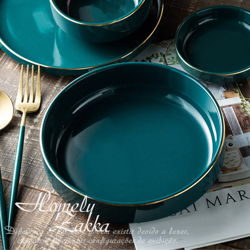 【Homely Zakka】北歐輕奢風祖母綠金邊陶瓷餐具_大圓湯盤