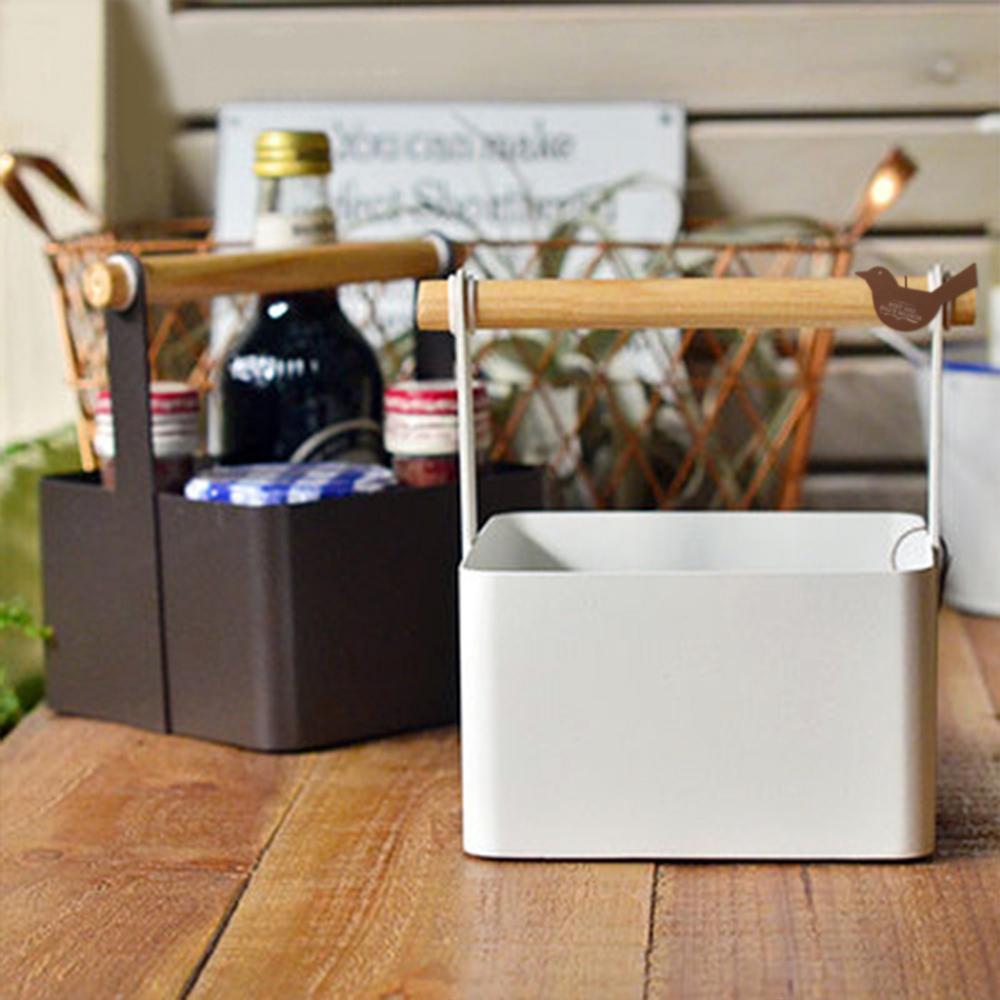 【收納職人】北歐簡約時尚鐵製木棍手提收納盒(2色任選)