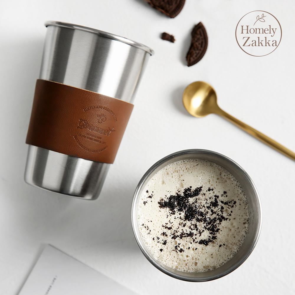 【Homely Zakka】原創ins風皮革304不銹鋼杯/飲料杯/咖啡隨行杯_480ml (2款任選)