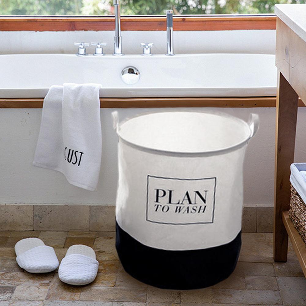 【收納職人】清新簡約英文棉麻大容量收納桶/洗衣籃/髒衣籃(圓桶-Plan)