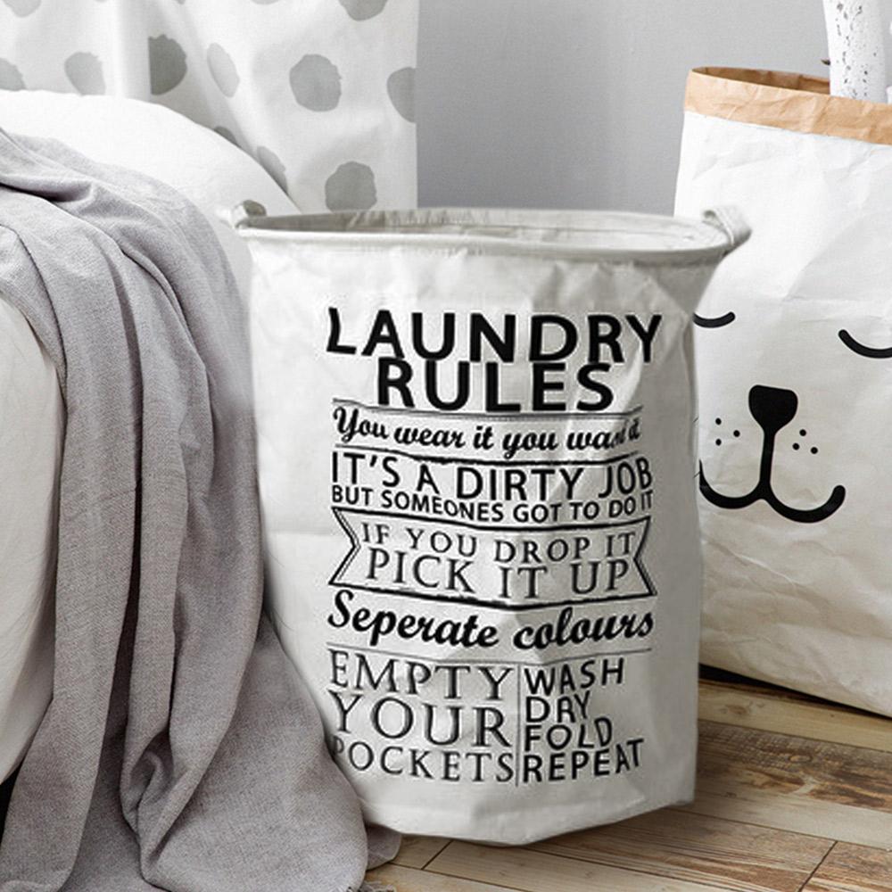 【收納職人】清新簡約英文棉麻大容量收納桶/洗衣籃/髒衣籃(圓桶-Laundry)