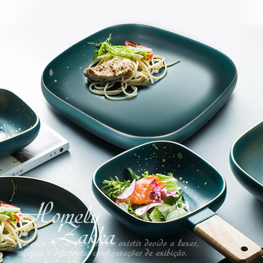 【Homely Zakka】北歐輕奢風金邊陶瓷餐具_方形湯盤(復古綠)