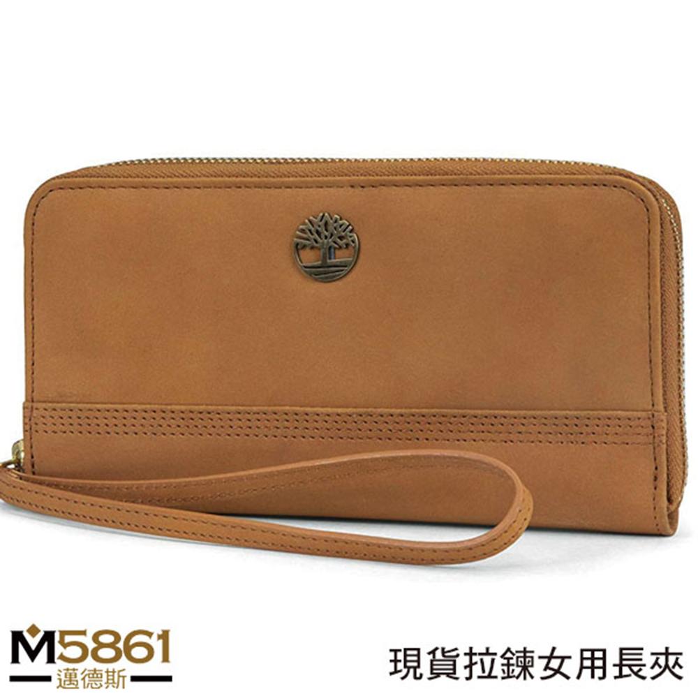 【Timberland】女皮夾 長夾 麂皮牛皮夾 拉鍊錢包 多卡夾 手拿包 配腕帶/棕色